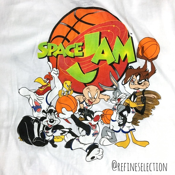 fc8f45bf6 Space Jam Looney Tunes White Button Down Jersey